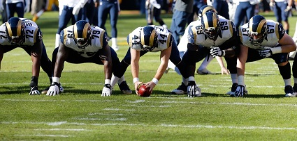 Dec 7, 2014; Landover, MD, USA; St. Louis Rams offensive linemen line up during pre game warm ups prior to the Rams' game against the Washington Redskins at FedEx Field. Mandatory Credit: Geoff Burke-USA TODAY Sports